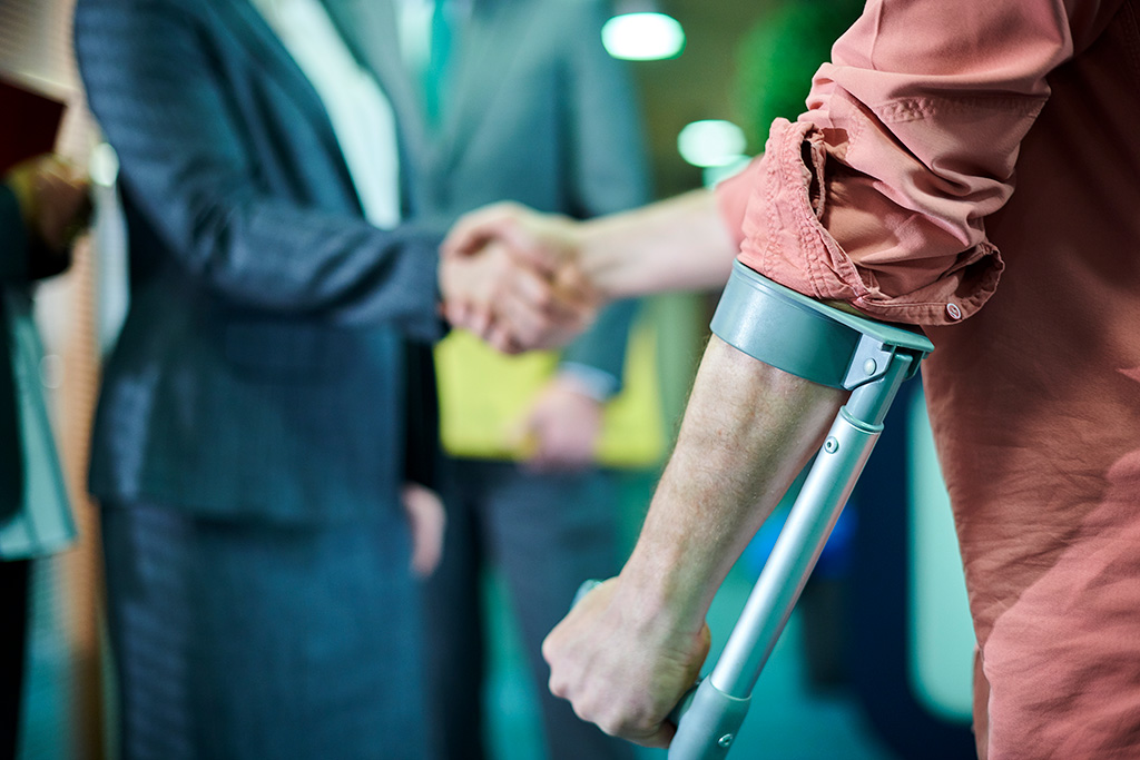 Injured client meeting with an attorney